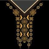 Svart och etnisk blommahals för guld- färger Paisley dekorativ gräns royaltyfri illustrationer
