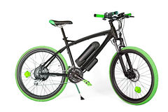 Svart och grön elektrisk cykel Arkivbilder