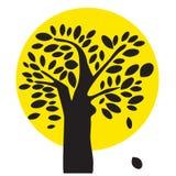 Svart och gul Treeillustration Royaltyfria Bilder