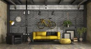 Svart och gul vardagsrum i en vind Arkivbilder