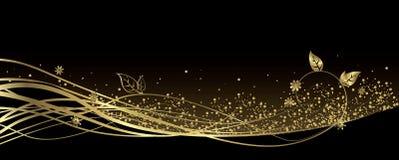 Svart och guld- baner royaltyfri illustrationer