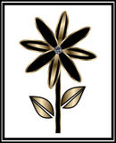 Svart och guld- blomma Royaltyfri Fotografi