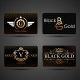 Svart och guld cards mallen stock illustrationer