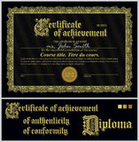 Svart och guld- certifikat mall horisontal stock illustrationer