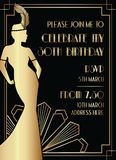 Svart och guld- Gatsby Art Deco Style Birthday Invitation design med kvinnan stock illustrationer