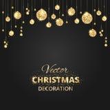 Svart och guld- julbakgrund med blänker garnering vektor illustrationer
