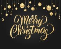 Svart och guld- julbakgrund med blänker garnering Hand dragen bokstäver vektor illustrationer