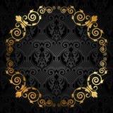 Svart och guld- lyxig ram Arkivfoto