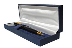 Svart och guld- reservoarpenna Royaltyfria Bilder