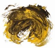 Svart och guld- slaglängd för borste för fläck för oljatexturmålarfärg, cirkel royaltyfri illustrationer