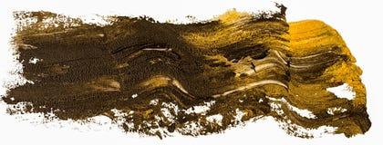 Svart och guld- slaglängd för borste för fläck för oljatexturmålarfärg, vektor illustrationer