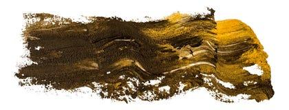 Svart och guld- slaglängd för borste för fläck för oljatexturmålarfärg, målad hand vektor illustrationer