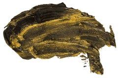 Svart och guld- slaglängd för borste för oljatexturmålarfärg arkivbilder
