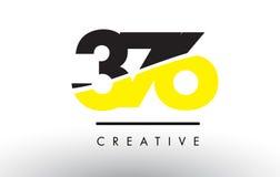 376 svart och gulingnummer Logo Design Arkivfoto
