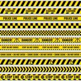 Svart- och gulingpolisbandet gränsar, konstruktion, uppsättning för vektor för band för faravarning sömlös stock illustrationer
