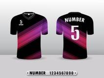 Svart och purpurfärgad mall för design för fotbollklubbat-skjorta sport Inspirerat av abstrakta begreppet Framdel- och baksidasik royaltyfri illustrationer
