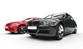 Svart och röd bil Arkivfoton