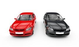 Svart och röd bil- bästa sikt Royaltyfria Foton