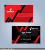 Svart och röd modern idérik och ren mall för affärskortdesign Arkivbild