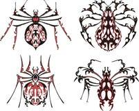 Svart och röda symmetriska spindeltatueringar vektor illustrationer