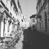 Svart och vit-gator av Zagreb Royaltyfri Foto