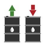 Svart olje- trumma med röda och gröna pilar Arkivfoto