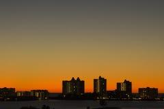 svart orange horisont Arkivbilder