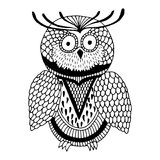 svart owl royaltyfri illustrationer