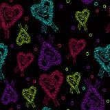 Svart pappers- kort för hjärtavalentindag. Arkivfoto