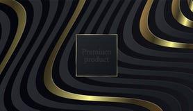 Svart papperssnittbakgrund Abstrakt realistisk i lager papercutgarnering som textureras med den guld- rastrerade modellen bakgrun royaltyfri illustrationer
