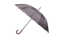 Svart paraply med trähandtaget Royaltyfria Bilder