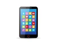 Svart pekskärmsmartphone med app-symboler Royaltyfri Foto