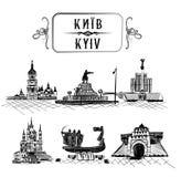 Svart Pen Sketch Drawn Old Town landskap stock illustrationer