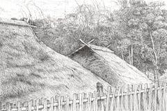 Svart pennteckning av träkojor arkivbilder