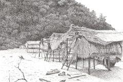 Svart pennteckning av träkojor arkivfoton