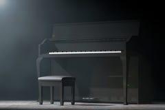 Svart piano i det volymetriska ljuset framförande 3d Arkivfoto