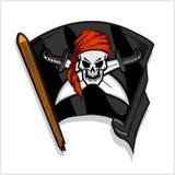 Svart piratkopierar flaggan med skalle- och korssvärd stock illustrationer
