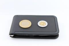Svart plånbok Royaltyfri Foto