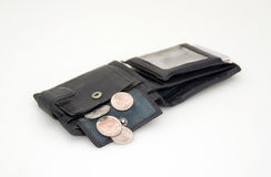 Svart plånbok för pengar Arkivbilder