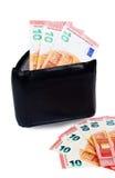 Svart plånbok med euro tio inom Arkivfoto