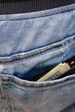 Svart plånbok med pengar som klibbar ut ur bakfickan av th Arkivbilder