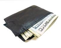 Svart plånbok med 50-tal och 100 räkningar inom Royaltyfri Fotografi
