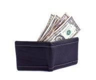 Svart plånbok och dollar Arkivfoton