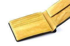 Svart plånbok på isolerad vit Arkivfoto