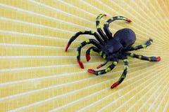 Svart plast- spindel på guling Royaltyfria Foton