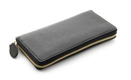 Svart plånbok Arkivbild