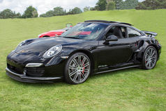 Svart Porsche 911 turboladdaresida Royaltyfri Bild