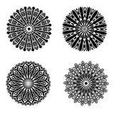 Svart prydnad- eller mandalasamling som isoleras över vit bakgrund vektor illustrationer