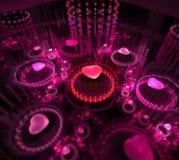 svart purple för bakgrund Prickig strålstråle från yttersida Rosa färger Royaltyfri Foto