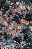Svart pyra bakgrund för textur för kolbrandbrasa Royaltyfria Foton